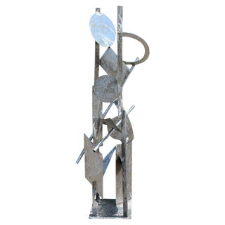 Contemporary Modern Tall Stainless Steel Abstract Outdoor Floor Sculpture Signed For Sale