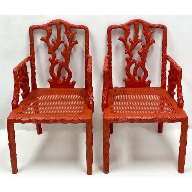 Carved Italian Red Faux Bois Jim Thompson Blue & White Linen Arm Chairs - a Pair For Sale In Atlanta - Image 6 of 9