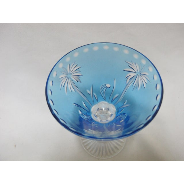 William Yeoward Cut Crystal Blue Glass Palm Tree Alexis Martini Glass Set - a Pair For Sale In Portland, OR - Image 6 of 8