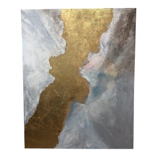 Original Oil on Canvas Painting of Gold Rainbow