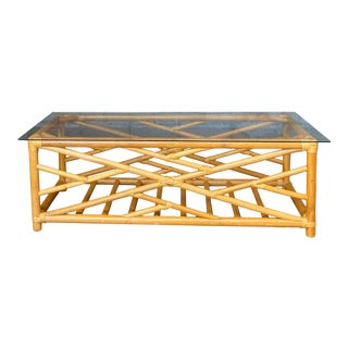 Vintage Coastal Bamboo Chinese Chippendale Coffee Table For Sale