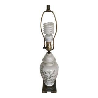 Vintage Floral Motif Ceramic Ginger Jar Lamp For Sale