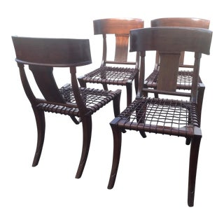 Modern Mid Century Klismos Style Walnut Dining Chairs -Set of 4 For Sale