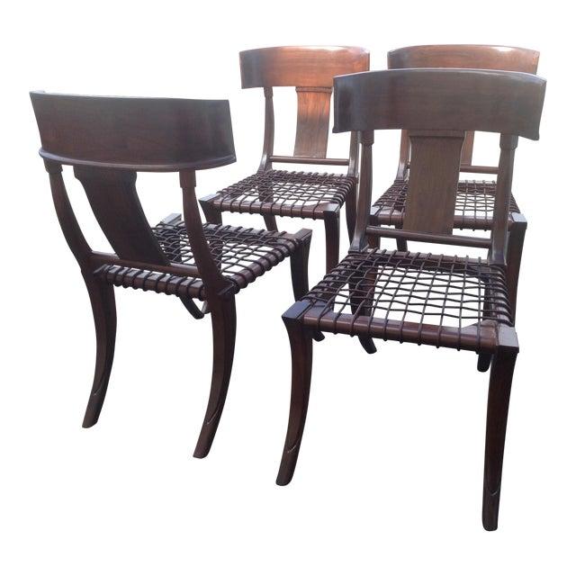 Modern Mid Century Klismos Style Walnut Dining Chairs -Set of 4 For Sale