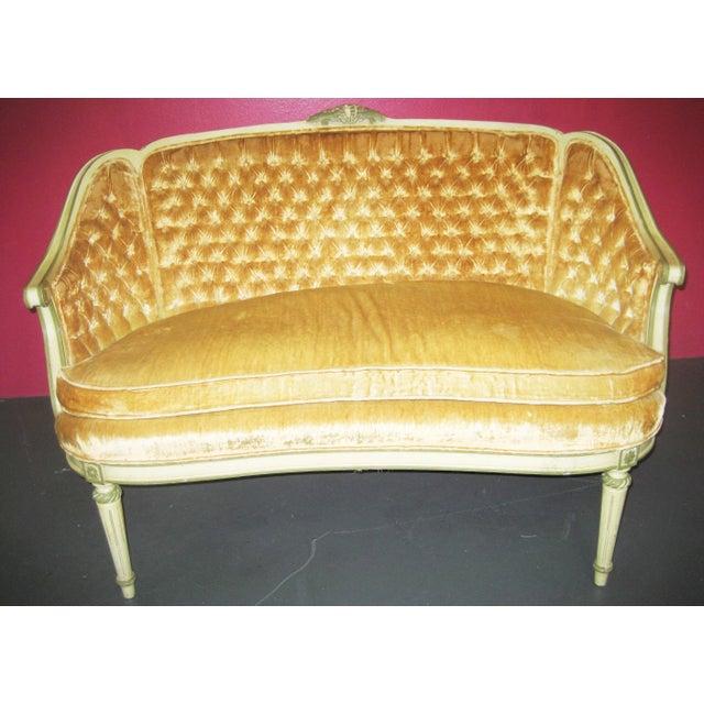 Louis XV Style Yellow Loveseat - Image 2 of 5