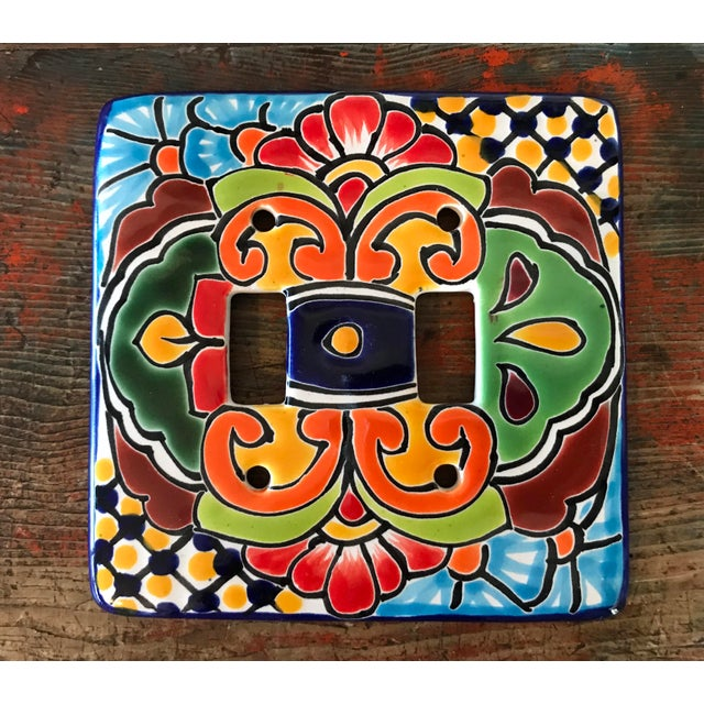 Hand Painted Mexican Art Double Switch Wall Plate For Sale - Image 5 of 5