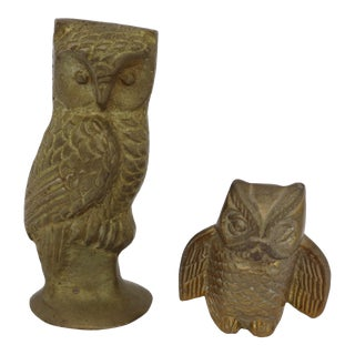 1970s Traditional Brass Owl Figurine Set - 2 Pieces For Sale