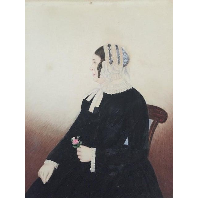 1845 Miniature American Folk Art Portrait - Image 1 of 7