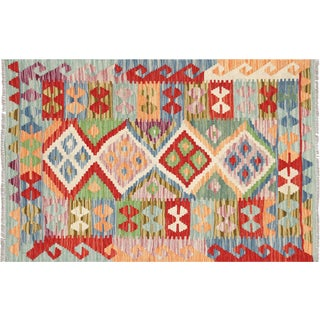 "Nalbandian - Contemporary Afghan Maimana Kilim - 2'9"" X 4' For Sale"