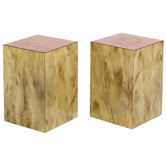 Versatile pair of faux-marble cube side tables or display pedestals with textured copper tops simulating tree bark, circa...
