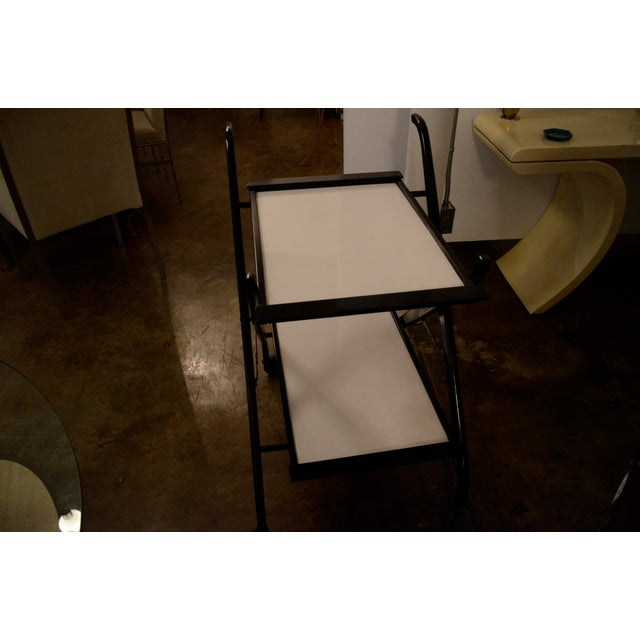 Foldable Newly Laquered Wood Frame & Removable Melamine Tray Bar Cart - Image 5 of 7