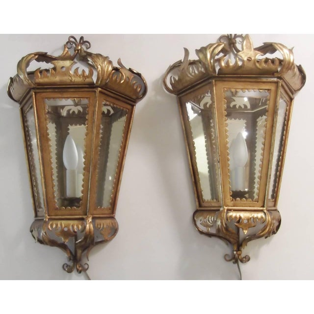 Italian Hollywood Regency Gilt Toleware Sconces - a Pair For Sale - Image 10 of 11
