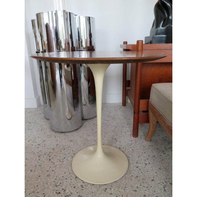 1960s Knoll Saarinen Walnut Top Side Table For Sale - Image 5 of 7
