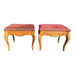 Ethan Allen Carved and Upholstered Wooden Stools - a Pair For Sale