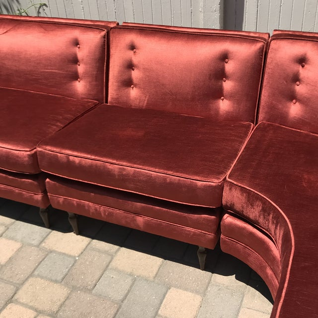 1950s Mid-Century Probber Style Velvet Sectional Sofa For Sale - Image 5 of 12