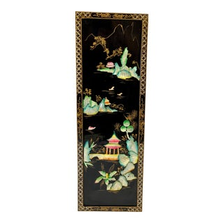 Mid Century Chinoiserie Wood & Mother of Pearl Landscape Wall Panel For Sale
