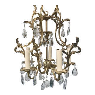 1920s French Gilt Bronze and Crystal 5-Arm Chandelier For Sale