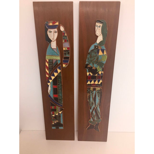 Harlequin Figure Tile Plaques - A Pair For Sale - Image 5 of 8