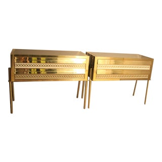 1970s Italian Art Deco Design Pair of Gold Brass and Beige Glass Covered Chests For Sale