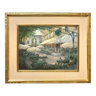 Spanish Courtyard Pastel Painting by Albert Sheldon Pennoyer (1888-1957) For Sale