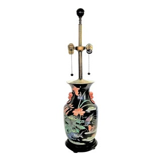 Vintage Chinese Porcelain Famille Noire Lamp For Sale