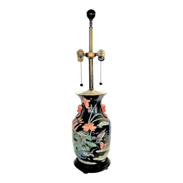 Vintage Chinese Porcelain Famille Noire Lamp For Sale