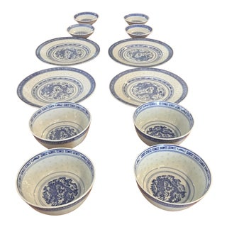 Vintage Translucent Blue & White Rice Bowls - Set of 12