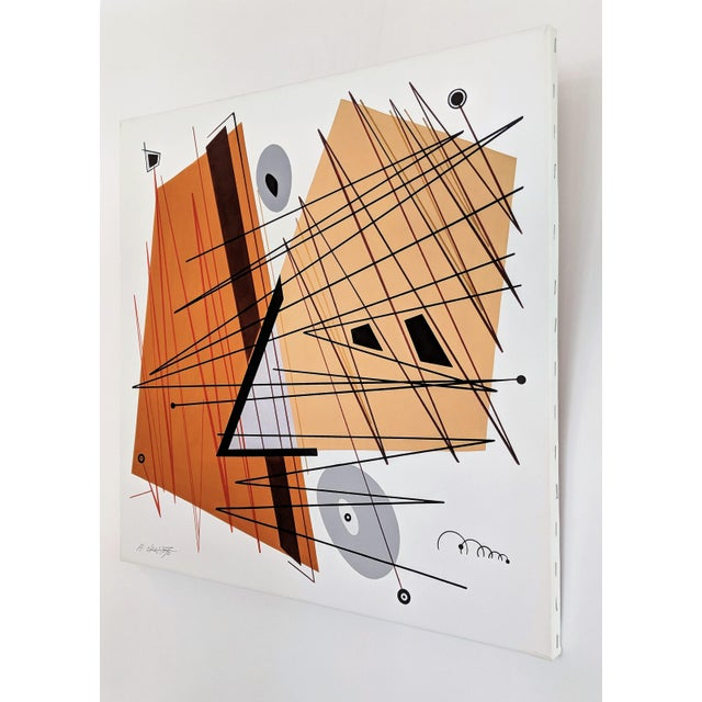 """Abstract Serigraph by Japanese Born Artist, Atsuko Okamoto"""" Titled """"Convergence 2"""". Serigraph on canvas. Signed lower left..."""