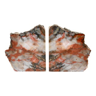 Iron Red Petrified Wood Slice Bookends - A Pair For Sale
