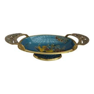 Brass & Blue Enamel Elongated Tray