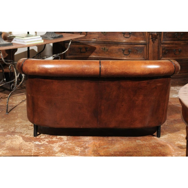 French Turn of the Century Brown Leather Sofa with Nailhead Trim, circa 1900 For Sale - Image 11 of 12