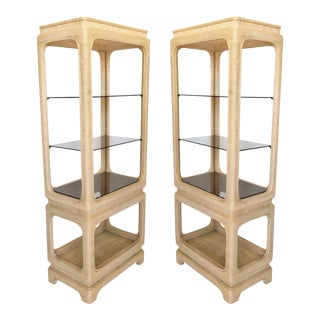 Mid-Century Modern Pencil Reed Bamboo Rattan Etageres-a Pair For Sale