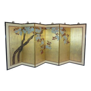 1960's Vintage Hand Painted Japanese Wall Screen