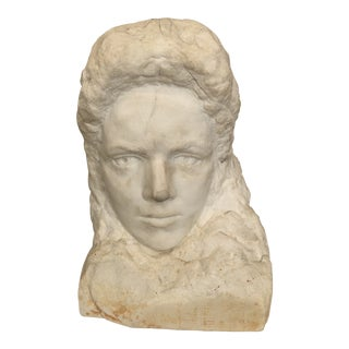 Realism Alabaster Marble Bust For Sale