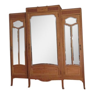 Vintage Oak Mirrored Armoire For Sale