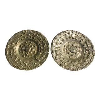 Vintage Brass Mayan Calendar Wall Display Plates - A Pair