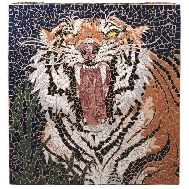 Fine quality late 20th century square mosaic coffee table featuring an intricately detailed tiger made of multicolored...
