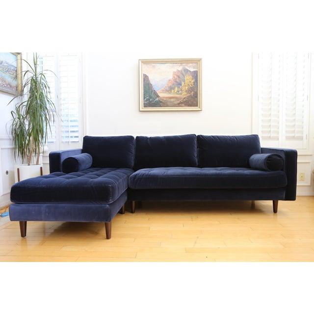 Mid Century Modern Navy Blue Velvet Sectional Sofa Chairish