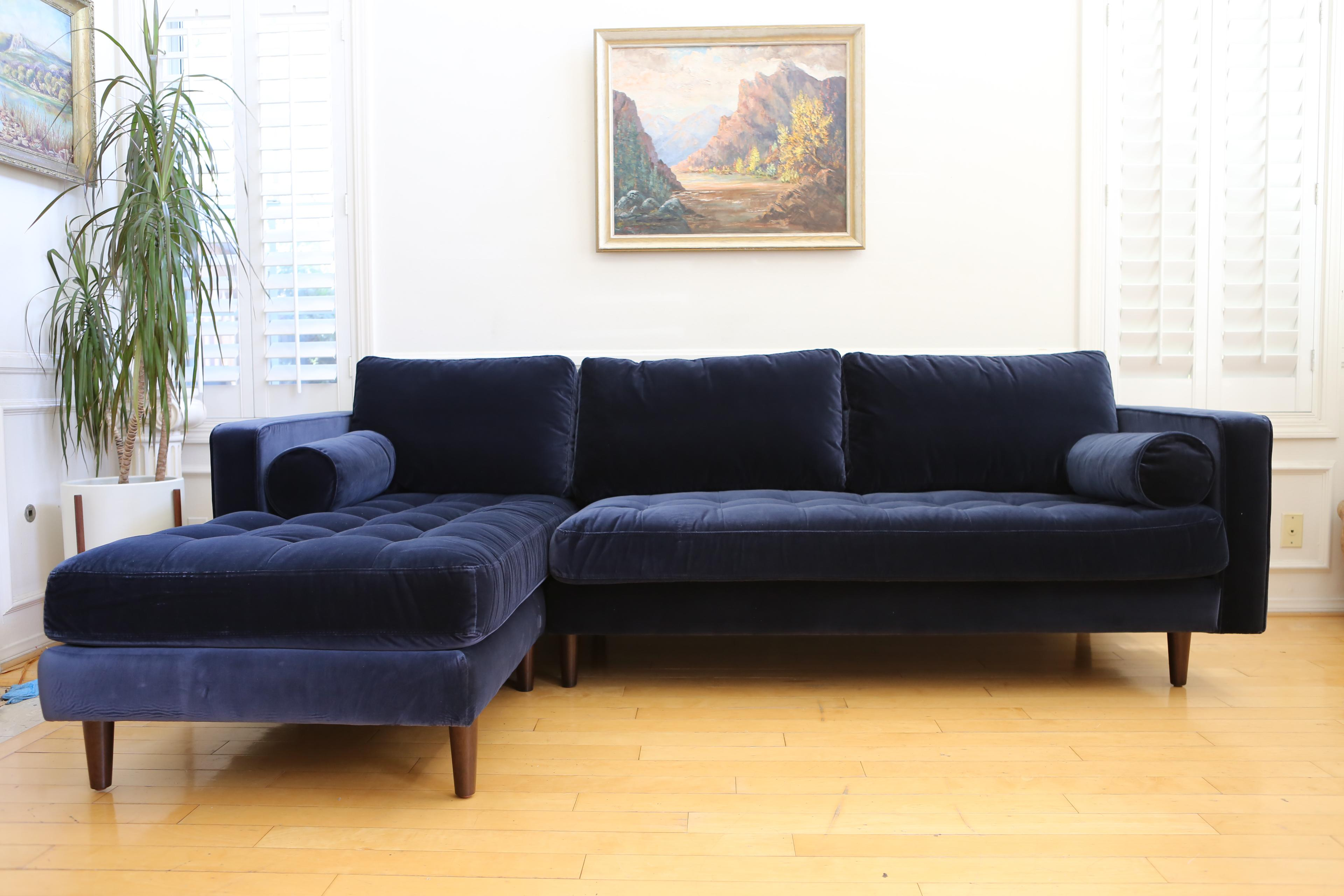 Mid Century Modern Navy Blue Velvet Sectional Sofa   Image 2 Of 6