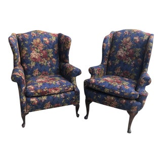 Vintage Recovered Wing Chairs - Pair For Sale