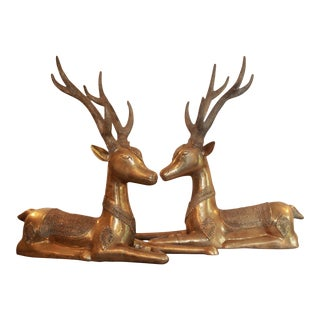 Large Vintage Recumbent Brass Stags / Deer - a Pair For Sale