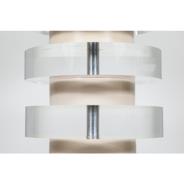 Textile Monumental Pair of Karl Springer Stacked Lucite Lamps For Sale - Image 7 of 9