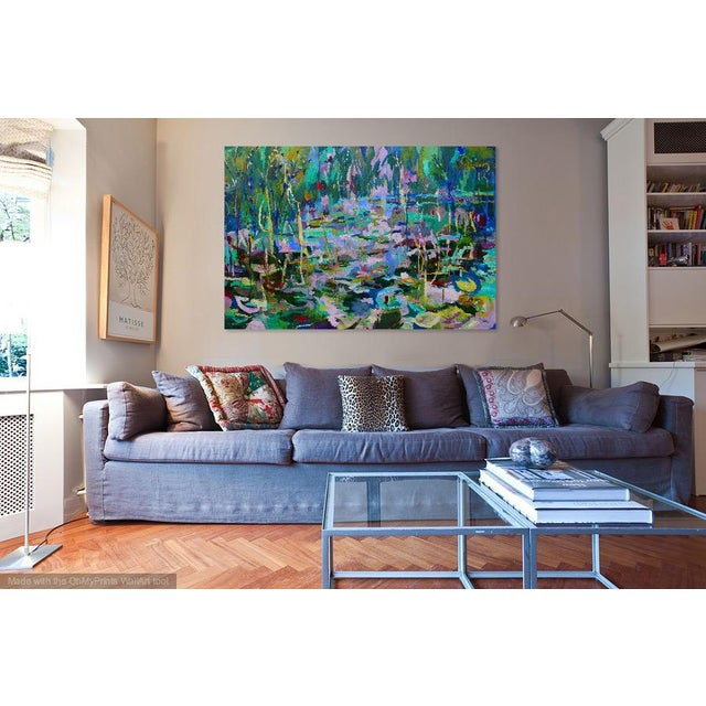 2010s Monumental Lily Pond Oil Painting at Monet's Garden For Sale - Image 5 of 12