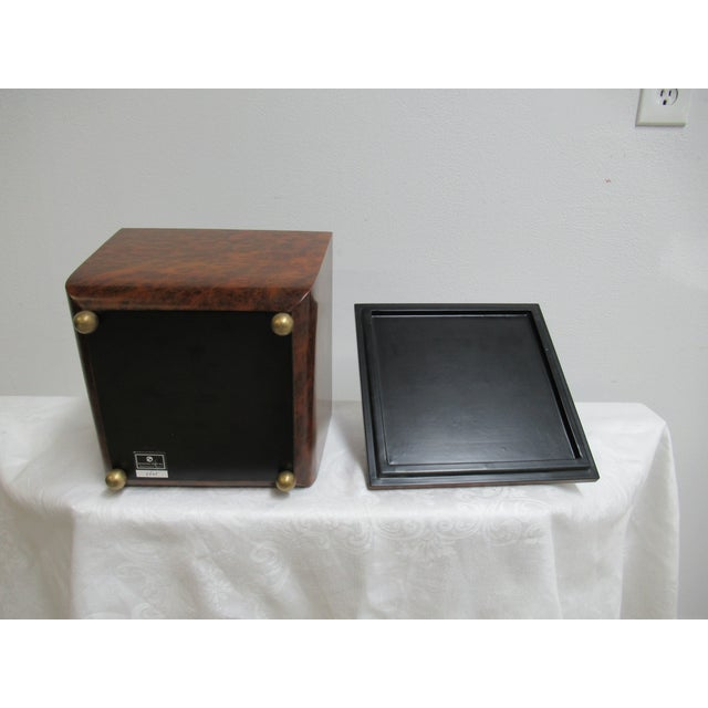 Modern Decorative Crafts Burlwood Tea Box For Sale - Image 11 of 13