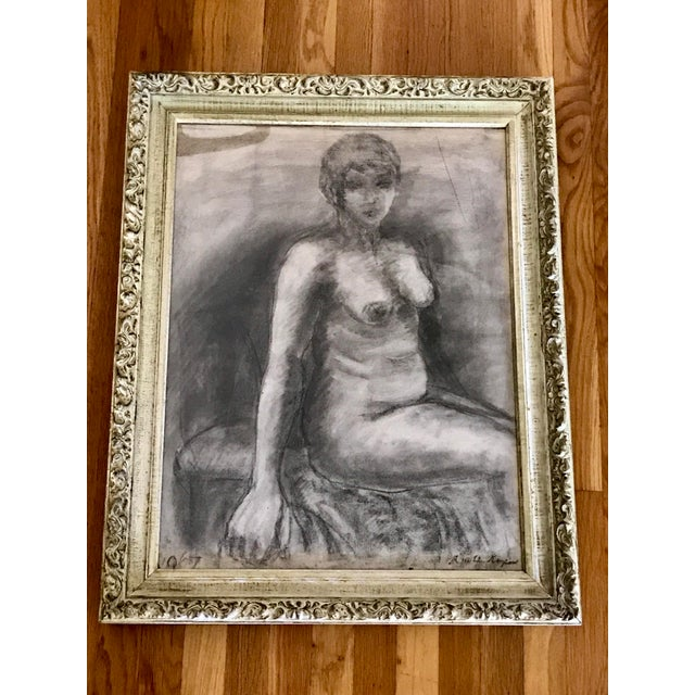 Gray Mid-Century Framed Charcoal Nude Sketch For Sale - Image 8 of 10