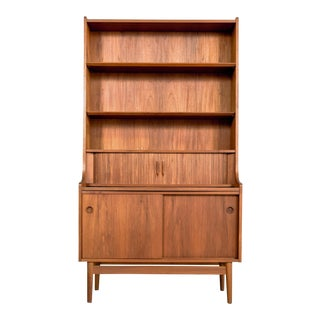Danish Modern Johannes Sorth Teak Secretary Bookcase For Sale