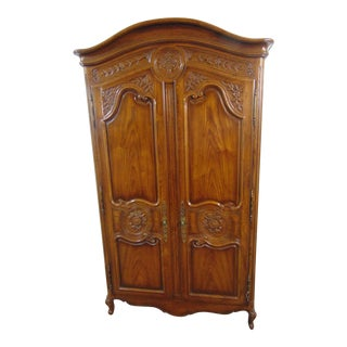 Henredon Louis XV Style Carved Oak Armoire For Sale