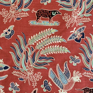 Quadrille China Seas Malay Batik Red and Blue Linen Printed Fabric- 2 Yards Preview