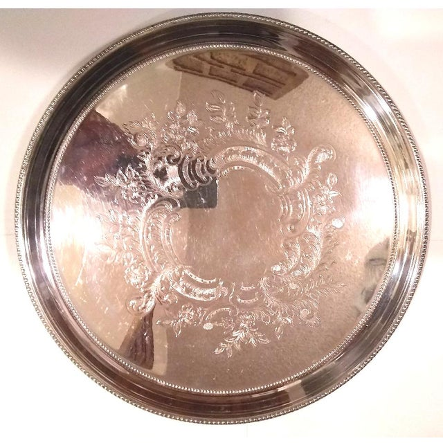 Traditional Vintage Towle Embossed Silver Plate Tray For Sale - Image 3 of 3