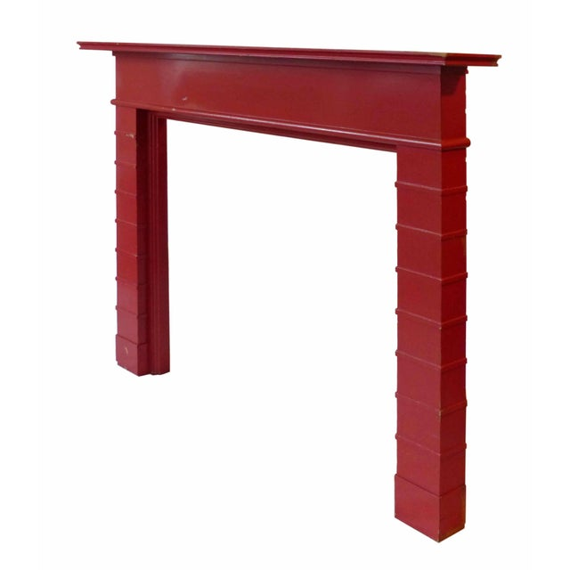 Mid century modern red painted wooden mantel.